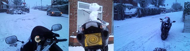 Riding motorcycle in the snow